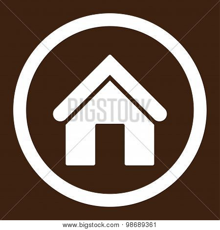 Home flat white color rounded vector icon