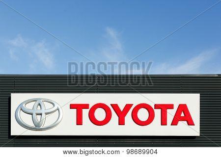 Toyota logo on a facade