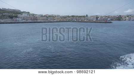 Procida. Coastline. View from the boat.