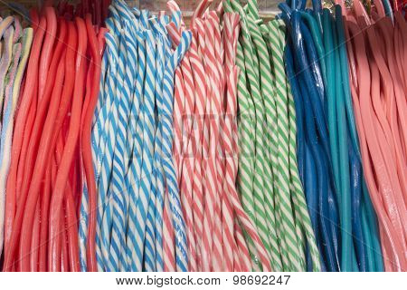 Pile Of Colorful Fruit Laces Candy, Store In A Market In The City