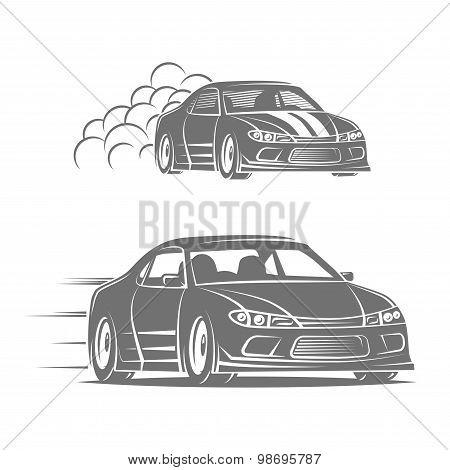Sport car vector logo design. Street racing illustration. Drift show elements