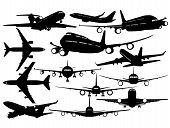 Silhouettes of passenger airliner - contours of airplanes poster