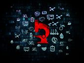 Science concept: Pixelated red Microscope icon on Digital background with  Hand Drawn Science Icons, 3d render poster