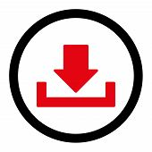 Download vector icon. This rounded flat symbol is drawn with intensive red and black colors on a white background. poster