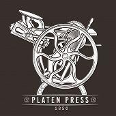 Platen press vector illustration. Old letterpress logo design. Vintage printing machine. poster