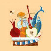 Happy Rosh Hashanah. Jewish New Year. Festive basket: pomegranate apple honey fish bottle of wine. Vector illustration poster