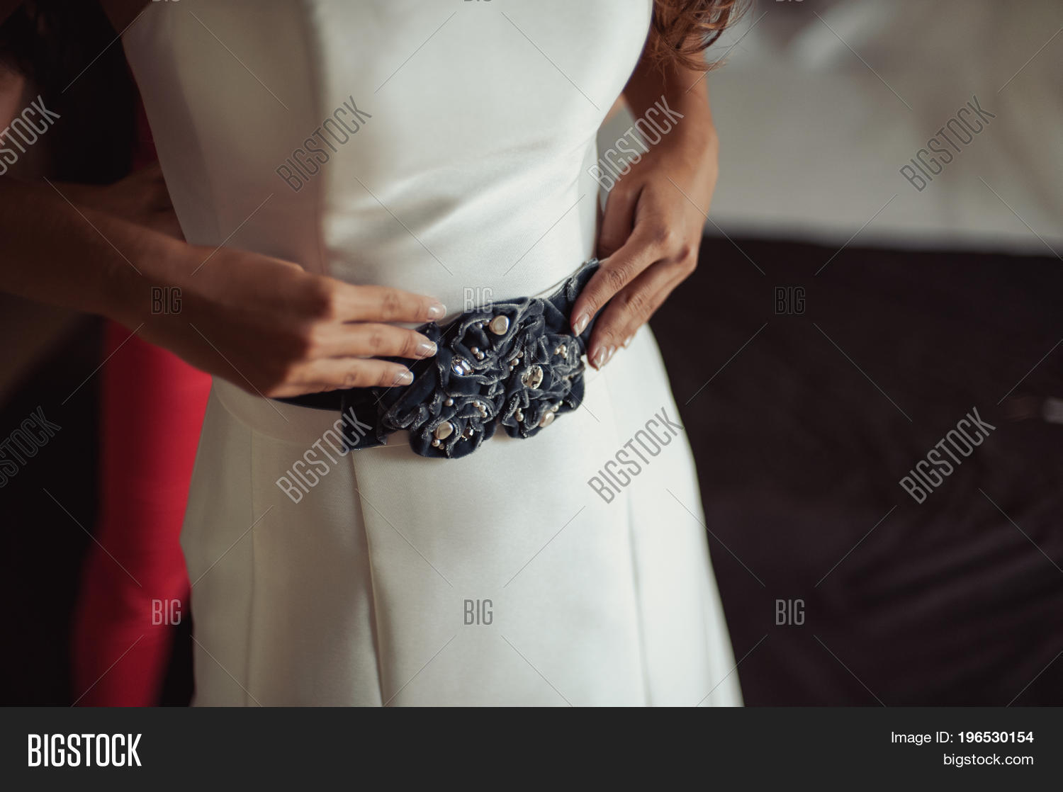 1703d015708e Fashionable Bridesmaids Dresses Helped Wear Bow On Back Of Wedding Dress  Bride. Morning Wedding Day