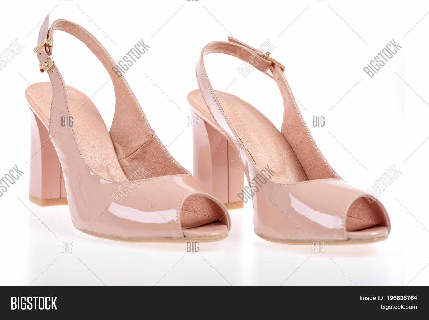 53a2cff6a Female high heel sandals isolated on white background. Womens patent leather  shoes close up. Pair of shoes in pink colour. Summer accessories  high heel  ...