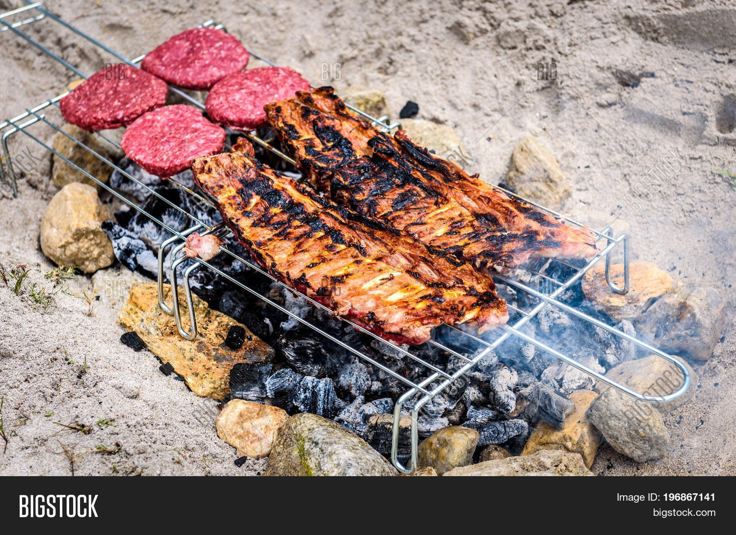Pork Ribs Burgers On Image Photo Free Trial Bigstock