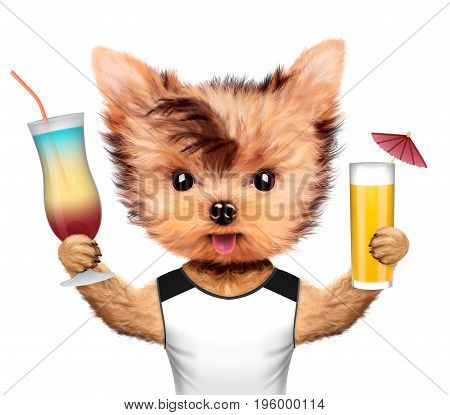 Funny animal in t-shirt holding cocktails. Concept summer holidays, travel vacation concept. Realistic 3D illustration.