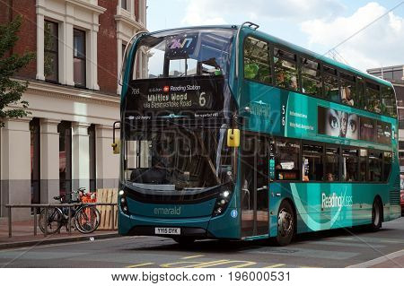 Reading, Uk - June 17Th 2017:a Number 6 Emerald Route Bus Operated By Reading Busesdouble Decker