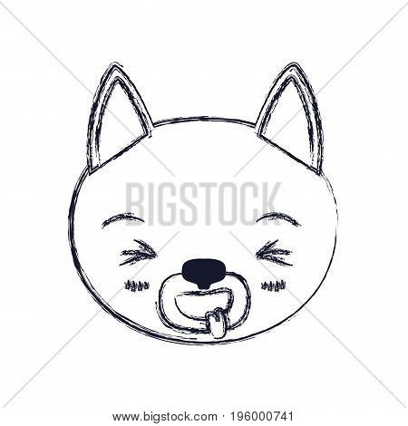 cute face of cat sticking out tongue expression vector illustration