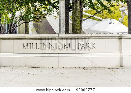 Chicago IL USA october 27 2016: Millennium Park Stone Sign in Chicago