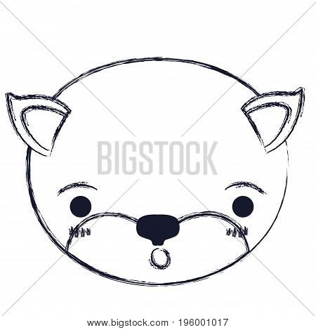 cute face of kitten surprised expression vector illustration