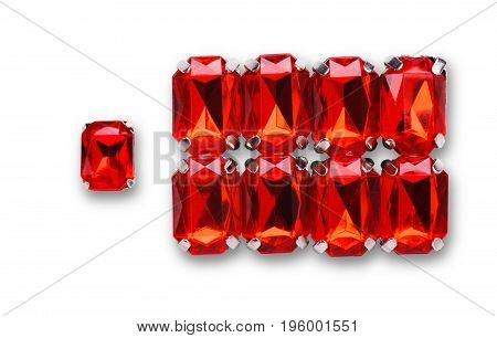 Ruby loose gemstones pile on white background. Set of red mounted gems, jewelry production concept.