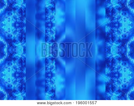 Hand-dyed blue and turquoise fabric with zig zag stitch detail and in a seamless repeat pattern with vertical blurred stripes.