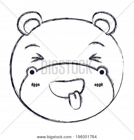 cute face of hippo sticking out tongue expression vector illustration