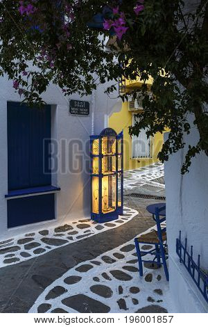 SKIATHOS, GREECE - JUNE 18, 2017: Shop in the old town of Skiathos in Sporades, Greece on June 18, 2017.