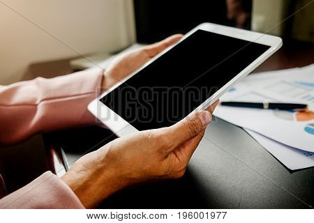 Woman Using Mobile Phone With Hand, Touch Screen. Project Manager Researching Process. Business Team