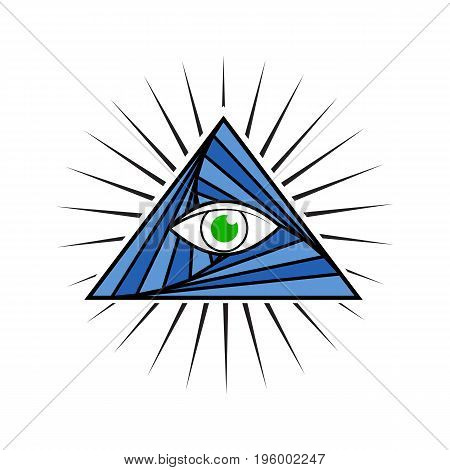 Vector illustration of the all seeing eye pyramid symbol