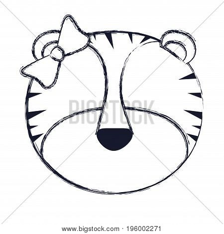 faceless of female tigress animal with bow lace vector illustration
