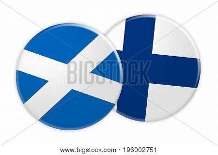 News Concept: Scotland Flag Button On Finland Flag Button 3d illustration on white background