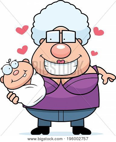 Cartoon Grandma Loving A Baby