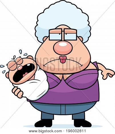Cartoon Tired Grandma With Baby
