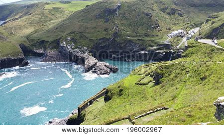 The view from Tintagel Castle down to Tintagel bay