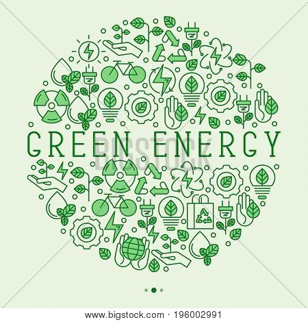 Ecology concept in circle with thin line icons for environmental, recycling, renewable energy, nature. Save Earth concept. Vector illustration.