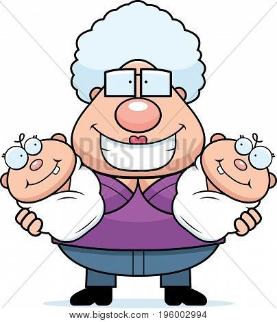 Happy Cartoon Grandma With Twins