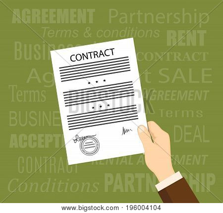 Flat concept of business financial agreement management marketing. Man hand with paper document with sign and stamp. The words on the background. EPS 10