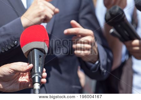 Microphone. Media interview with business person, politician or spokesperson
