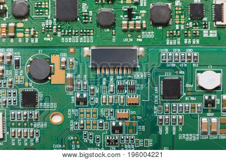 Computer motherboard microcircuit close up. Components of microprocessor top view. Technology, science and electronics concept