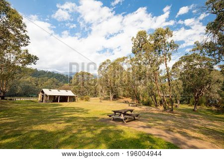 Geehi Flats Campground on the Swampy Plains River in the Snowy Mountains, New South Wales, Australia