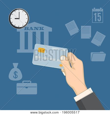 Flat modern design concept of payments tax time banking business investment with credit card in the hand and wall clock. EPS 10