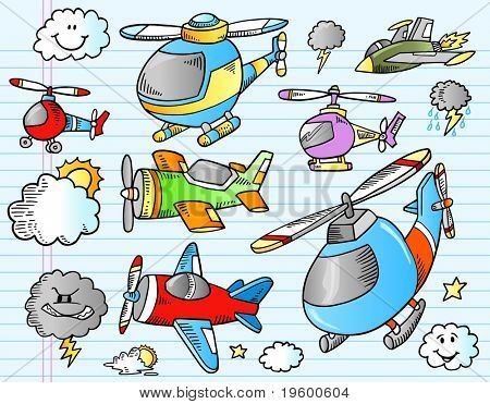 Notebook Aircraft Weather Doodle Sketch Vector Illustration Set