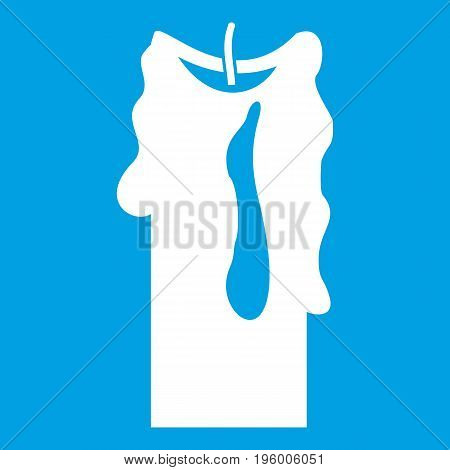 Decorative candle icon white isolated on blue background vector illustration