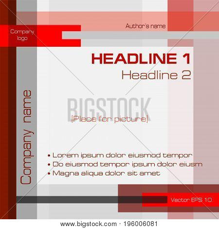 Geometric minimalist background, technology template, dark red, square. Layout modern design with text for cover, annual report, business presentation, brochure, magazine, poster. EPS10 vector illustration