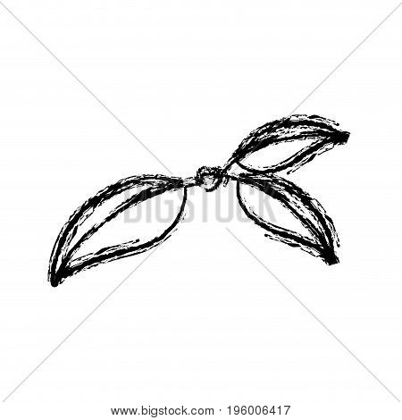 monochrome blurred silhouette of three leaves of cherry with stem vector illustration