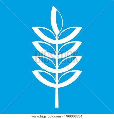 Rye spica icon white isolated on blue background vector illustration
