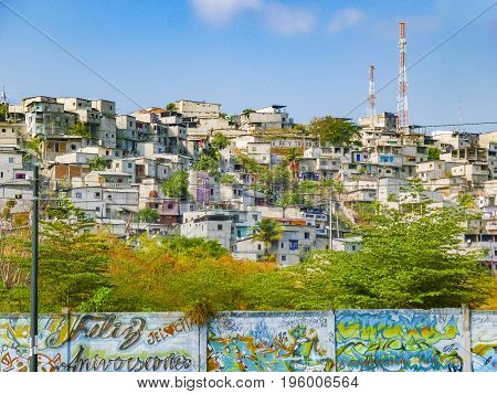 GUAYAQUIL, ECUADOR, NOVEMBER - 2016 - Poor neighborhood at top of hill at Guayaquil city Ecuador