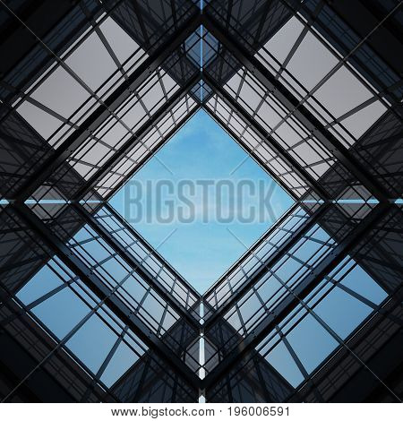 Abstract building wire frame structure design modern minimal Black steel frame surrounded by black glass. View center up the sky - 3D render
