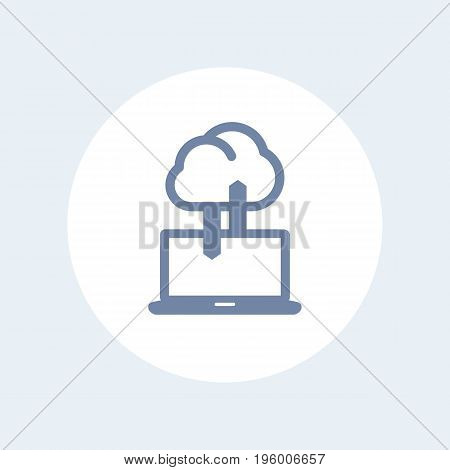 sync with cloud icon isolated on white, vector illustration