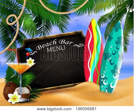 tropical vector background with leaves of palm trees summer sky and clouds wooden frame and chalk board for beach bar or restaurant menu coconut surfing boards and glass of beverage on a sand beach.