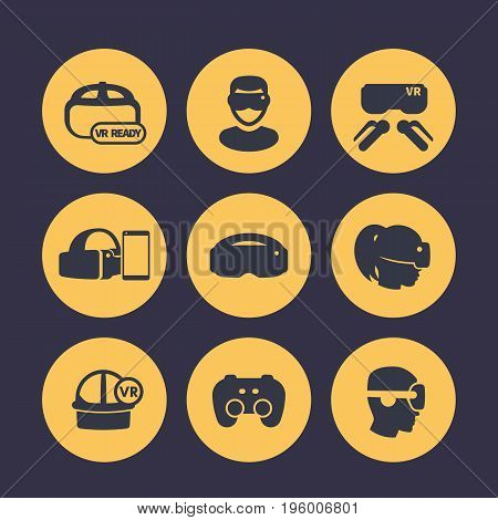 virtual reality, VR headset, glasses, games icons set