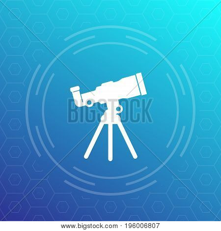 telescope icon, space observation, astronomy, eps 10 file, easy to edit