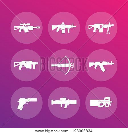 weapons, firearms icons set, sniper and assault rifles, machine gun, crossbow, pistol, grenade, rocket launchers