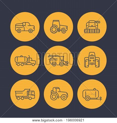 Agricultural machinery icons in linear style, tractor, milk truck, pickup car, harvester, combine machine, agrimotor