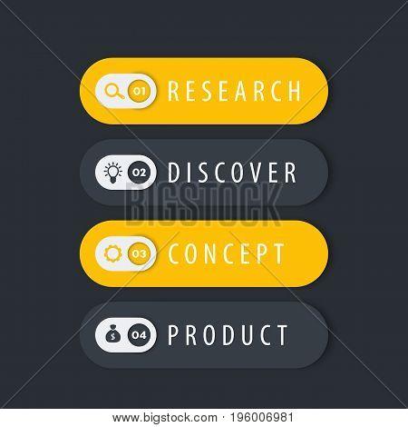 1, 2, 3, 4 steps template, progress chart, timeline, labels, vector illustration